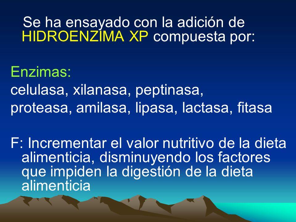 Se ha ensayado con la adición de HIDROENZIMA XP compuesta por: