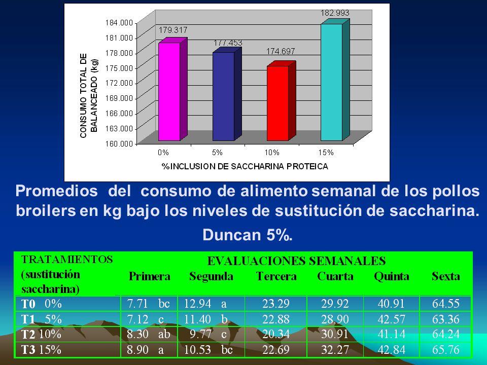 Promedios del consumo de alimento semanal de los pollos broilers en kg bajo los niveles de sustitución de saccharina.