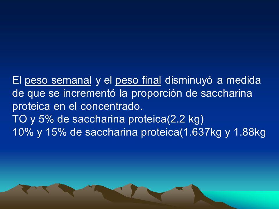 El peso semanal y el peso final disminuyó a medida de que se incrementó la proporción de saccharina proteica en el concentrado.