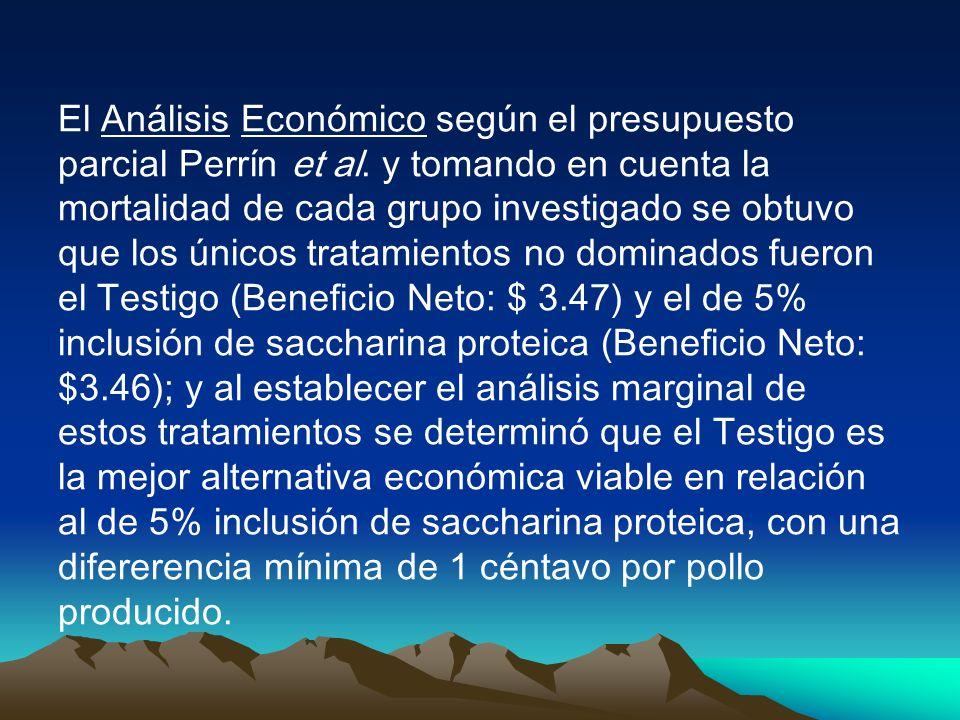 El Análisis Económico según el presupuesto parcial Perrín et al