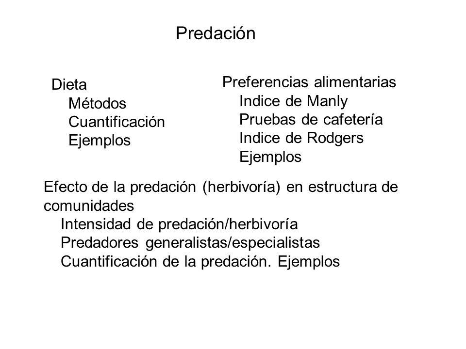 Predación Preferencias alimentarias Dieta Indice de Manly Métodos