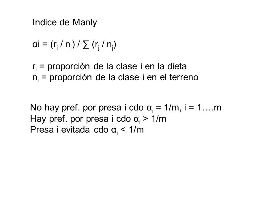 Indice de Manly αi = (ri / ni) / ∑ (rj / nj) ri = proporción de la clase i en la dieta. ni = proporción de la clase i en el terreno.