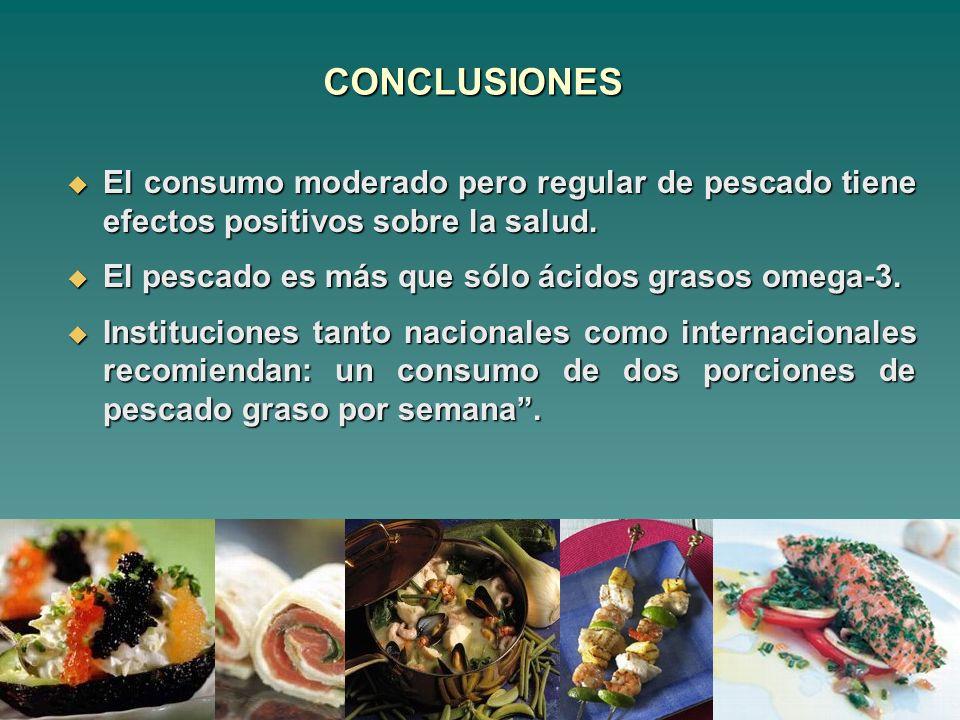 CONCLUSIONES El consumo moderado pero regular de pescado tiene efectos positivos sobre la salud. El pescado es más que sólo ácidos grasos omega-3.