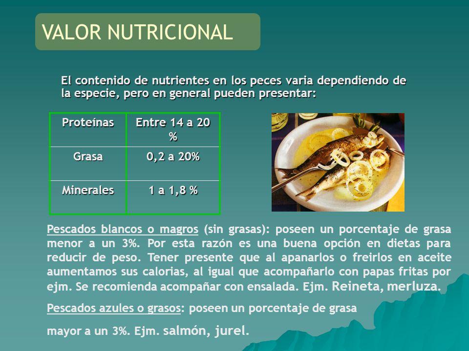 VALOR NUTRICIONAL El contenido de nutrientes en los peces varia dependiendo de la especie, pero en general pueden presentar: