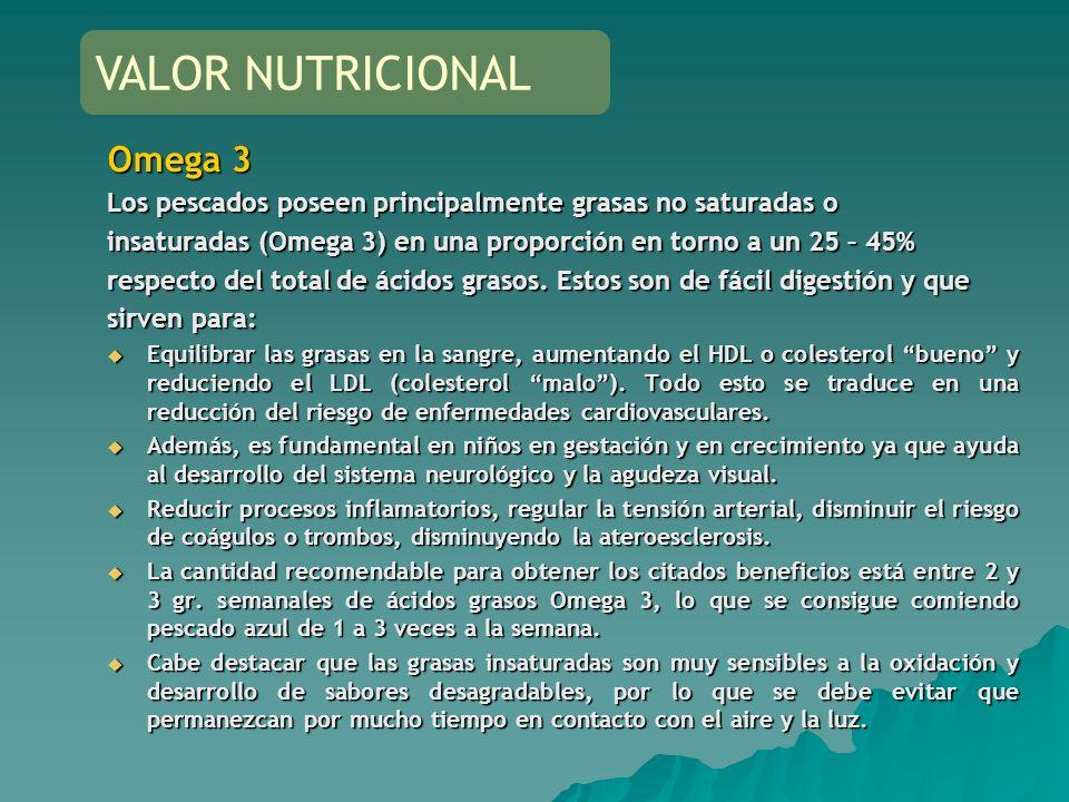 VALOR NUTRICIONAL Omega 3