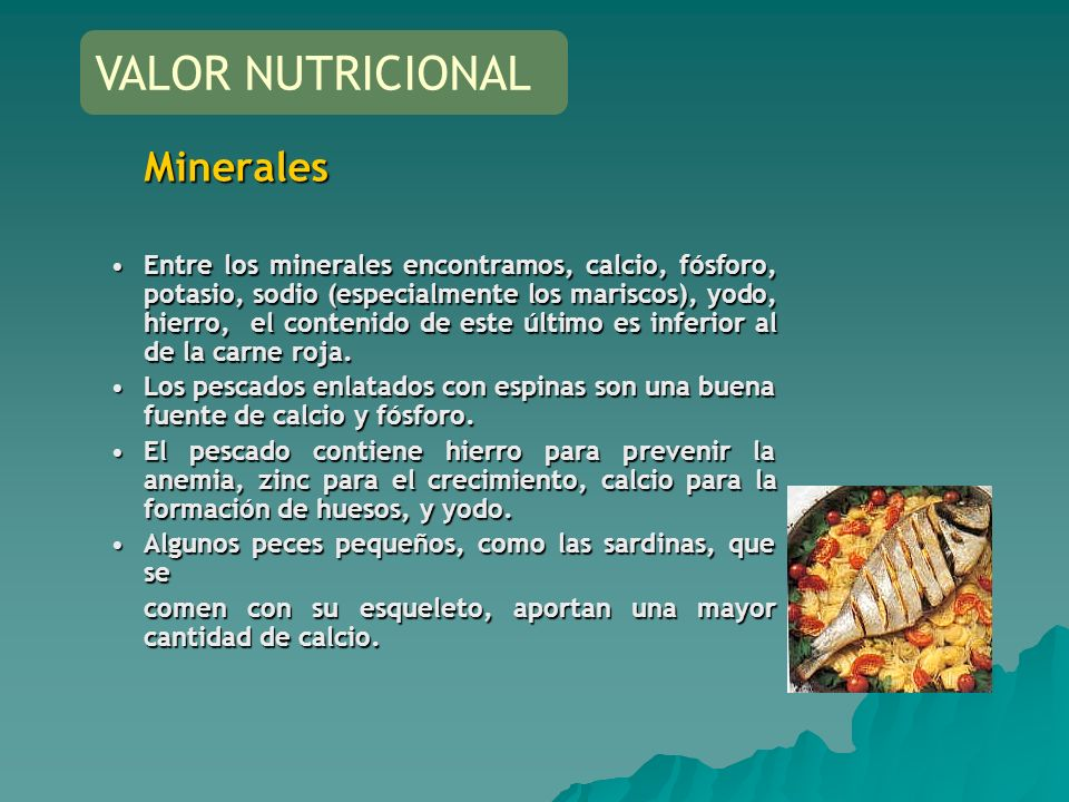 VALOR NUTRICIONAL Minerales