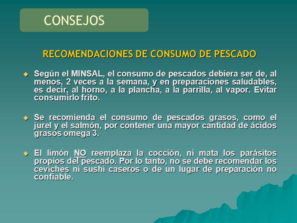RECOMENDACIONES DE CONSUMO DE PESCADO