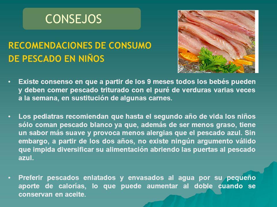 CONSEJOS RECOMENDACIONES DE CONSUMO DE PESCADO EN NIÑOS