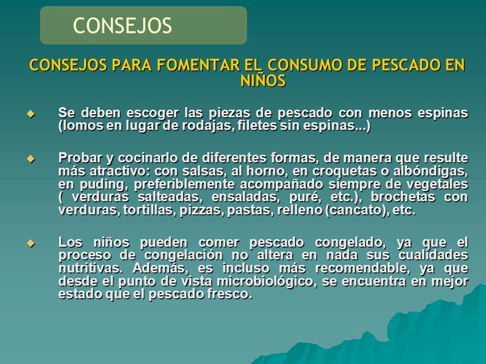 CONSEJOS PARA FOMENTAR EL CONSUMO DE PESCADO EN NIÑOS