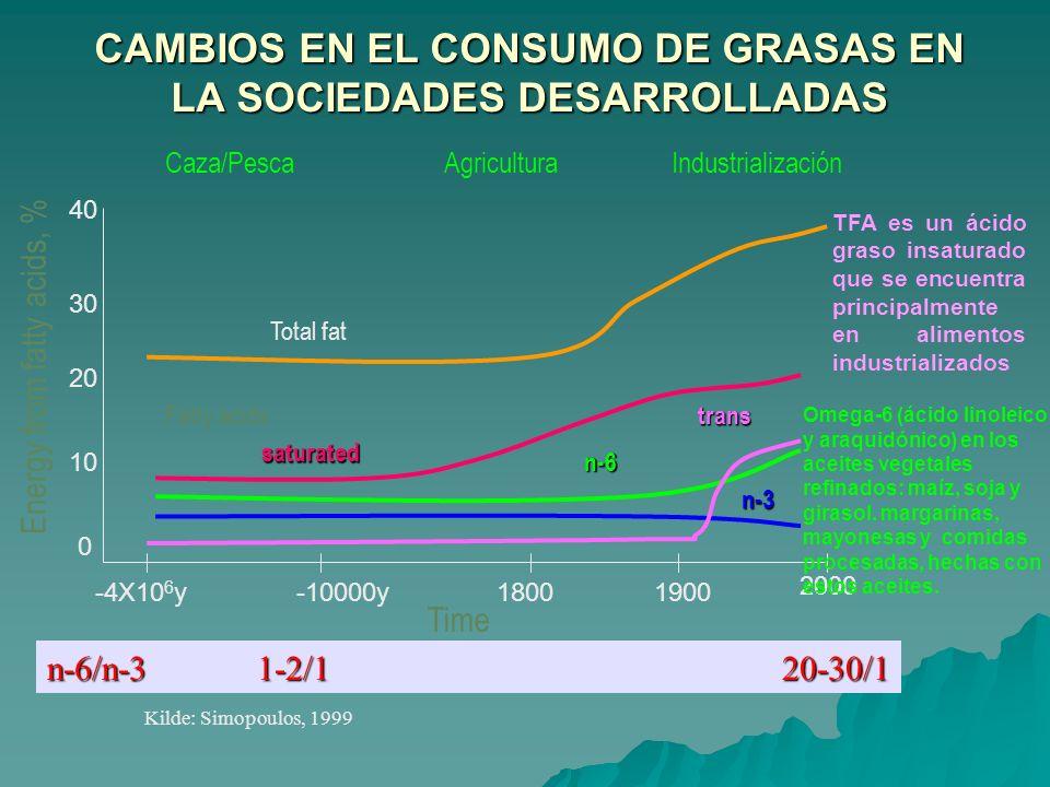 CAMBIOS EN EL CONSUMO DE GRASAS EN LA SOCIEDADES DESARROLLADAS