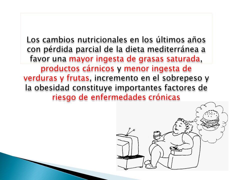 Los cambios nutricionales en los últimos años con pérdida parcial de la dieta mediterránea a favor una mayor ingesta de grasas saturada, productos cárnicos y menor ingesta de verduras y frutas, incremento en el sobrepeso y la obesidad constituye importantes factores de riesgo de enfermedades crónicas