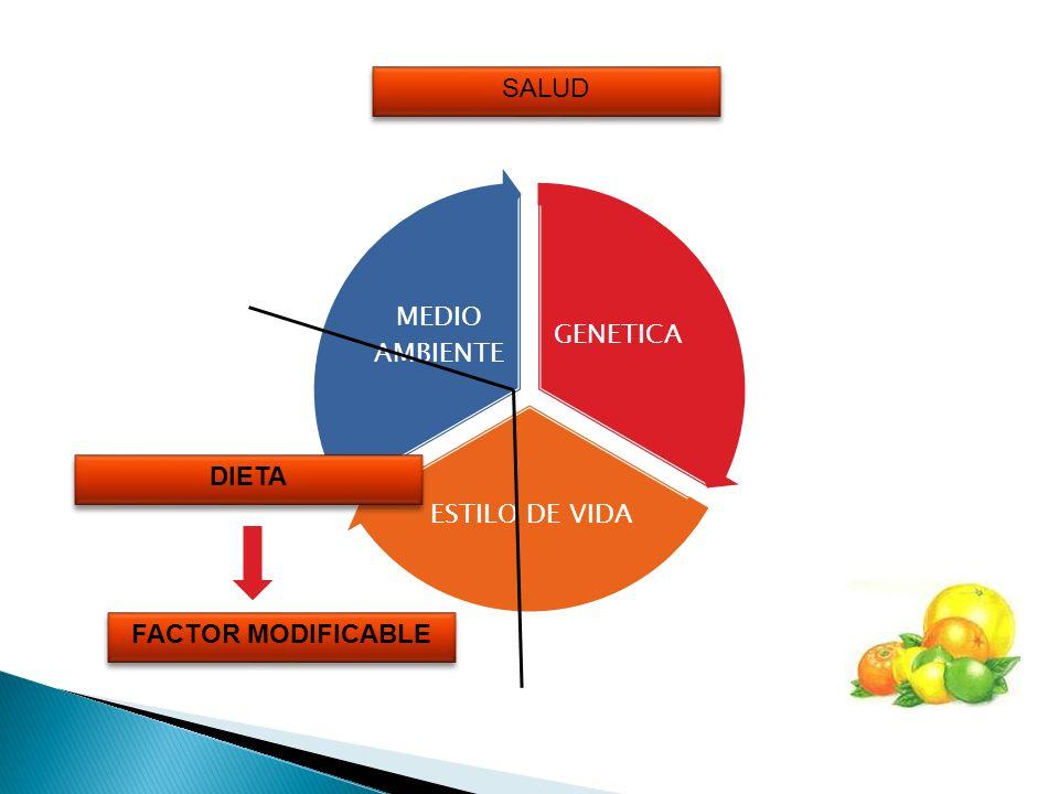 SALUD GENETICA ESTILO DE VIDA MEDIO AMBIENTE DIETA FACTOR MODIFICABLE