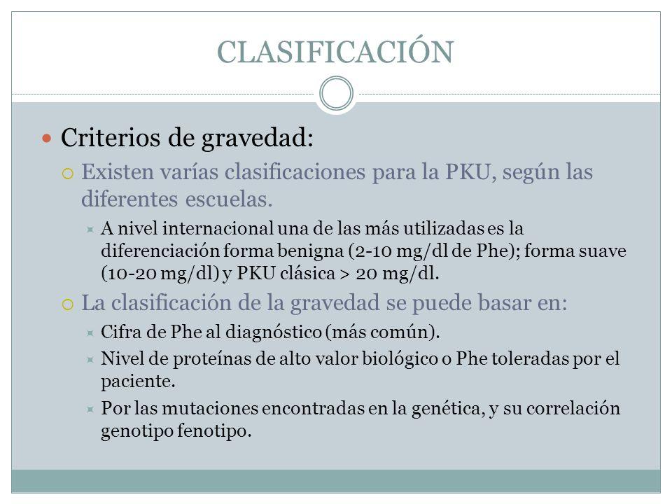 CLASIFICACIÓN Criterios de gravedad: