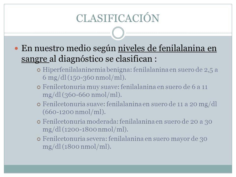 CLASIFICACIÓN En nuestro medio según niveles de fenilalanina en sangre al diagnóstico se clasifican :