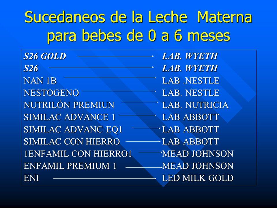 Sucedaneos de la Leche Materna para bebes de 0 a 6 meses