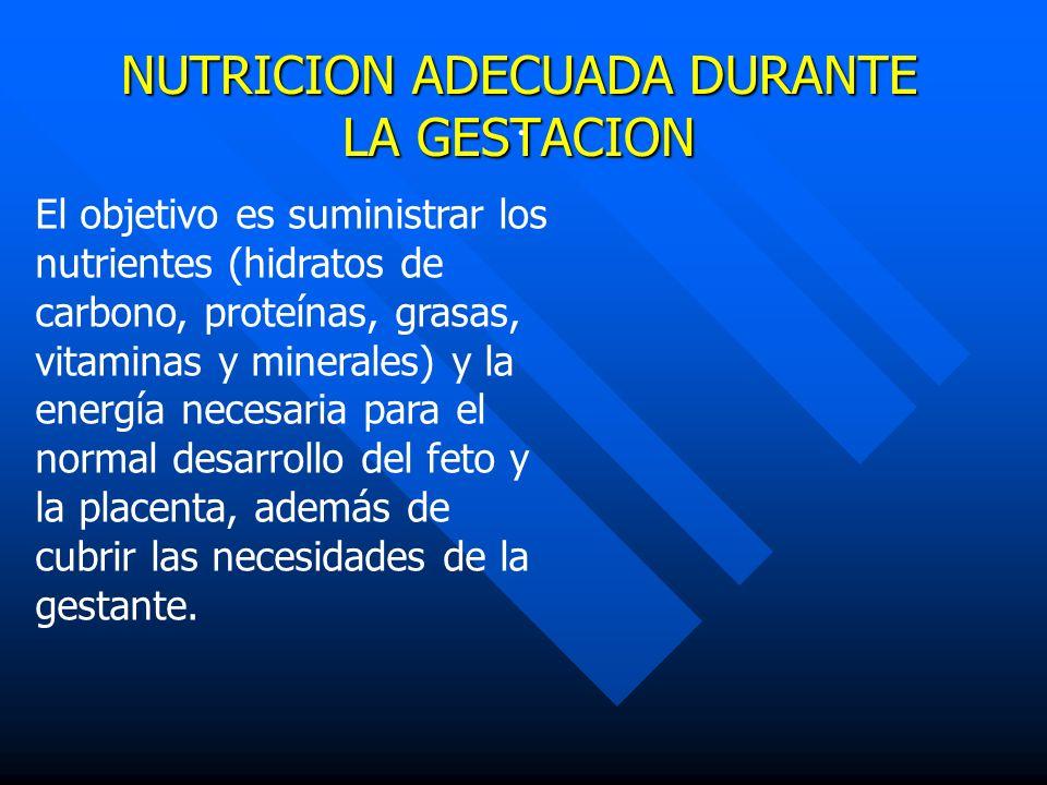 NUTRICION ADECUADA DURANTE LA GESTACION