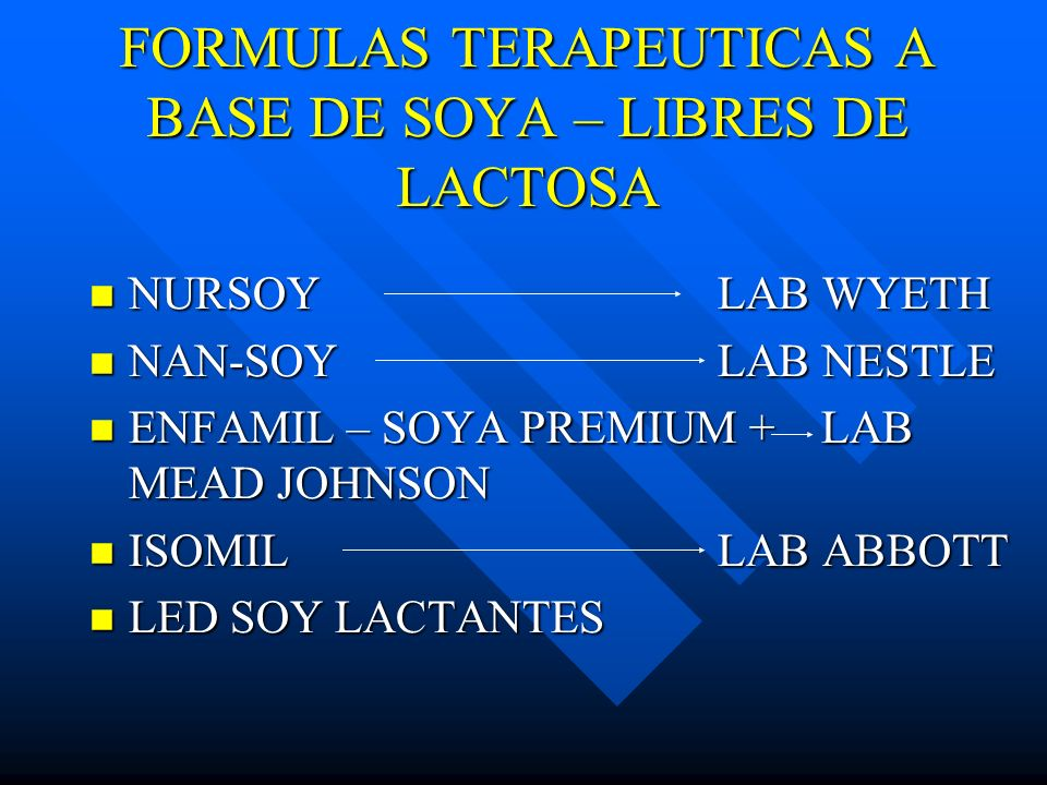 FORMULAS TERAPEUTICAS A BASE DE SOYA – LIBRES DE LACTOSA