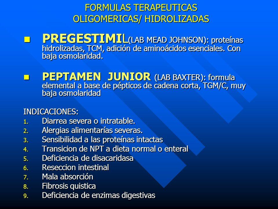 FORMULAS TERAPEUTICAS OLIGOMERICAS/ HIDROLIZADAS