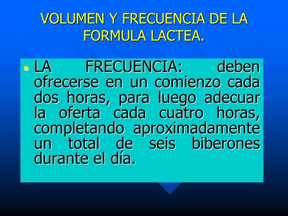 VOLUMEN Y FRECUENCIA DE LA FORMULA LACTEA.