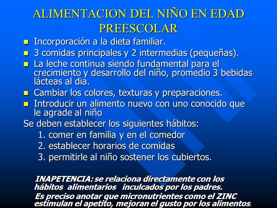 ALIMENTACION DEL NIÑO EN EDAD PREESCOLAR