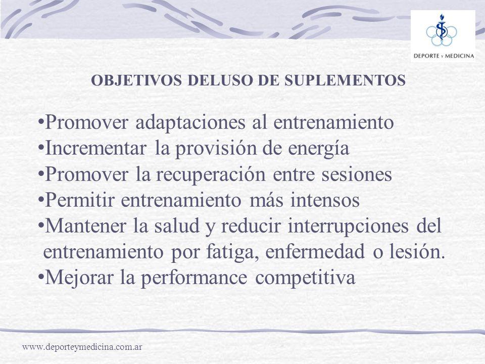 Promover adaptaciones al entrenamiento
