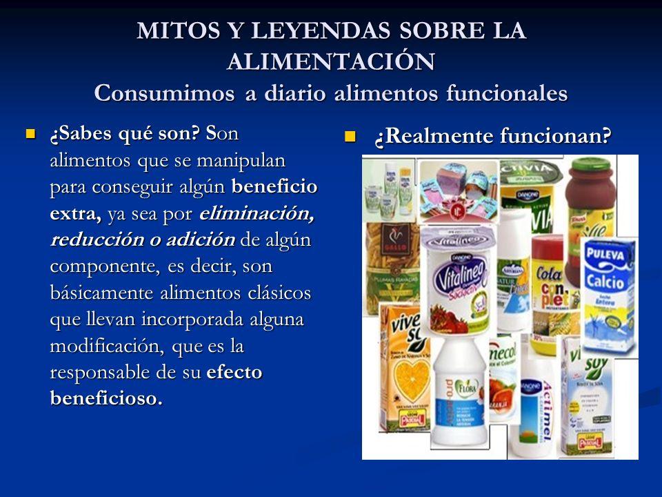 MITOS Y LEYENDAS SOBRE LA ALIMENTACIÓN Consumimos a diario alimentos funcionales