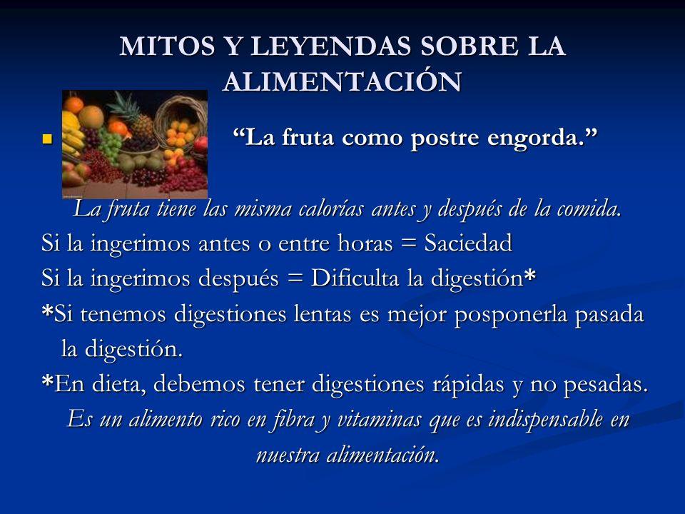 MITOS Y LEYENDAS SOBRE LA ALIMENTACIÓN