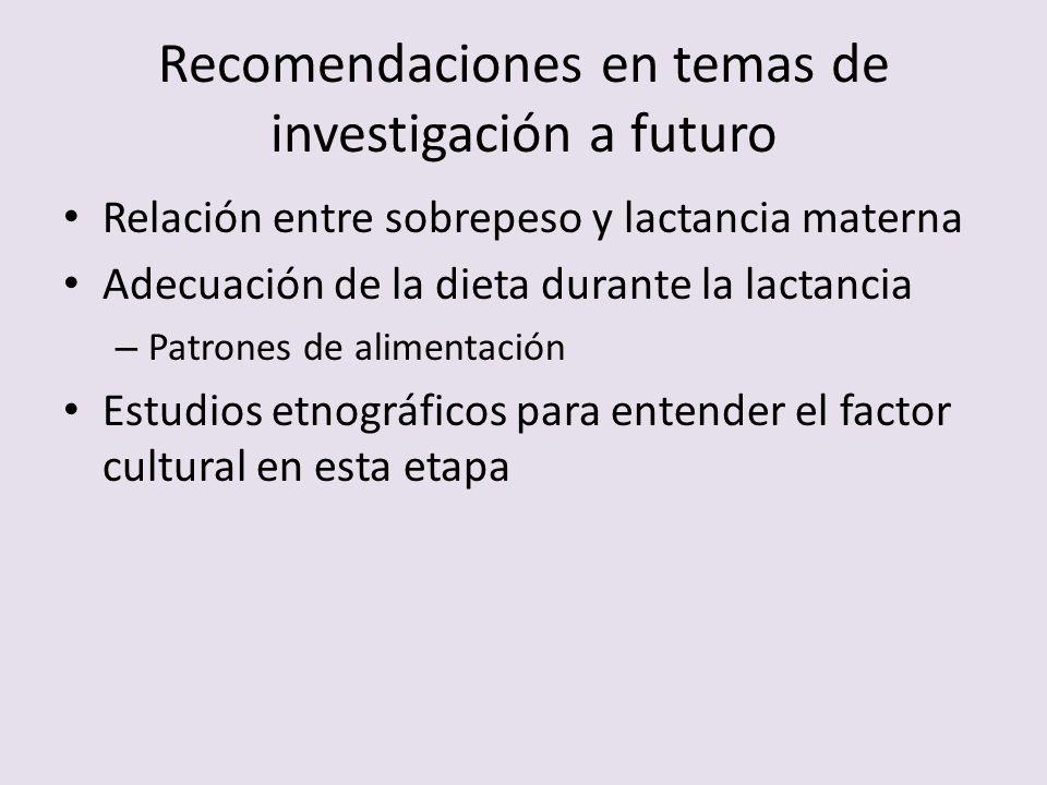 Recomendaciones en temas de investigación a futuro