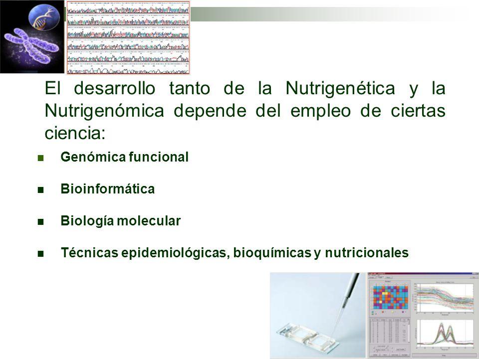 El desarrollo tanto de la Nutrigenética y la Nutrigenómica depende del empleo de ciertas ciencia:
