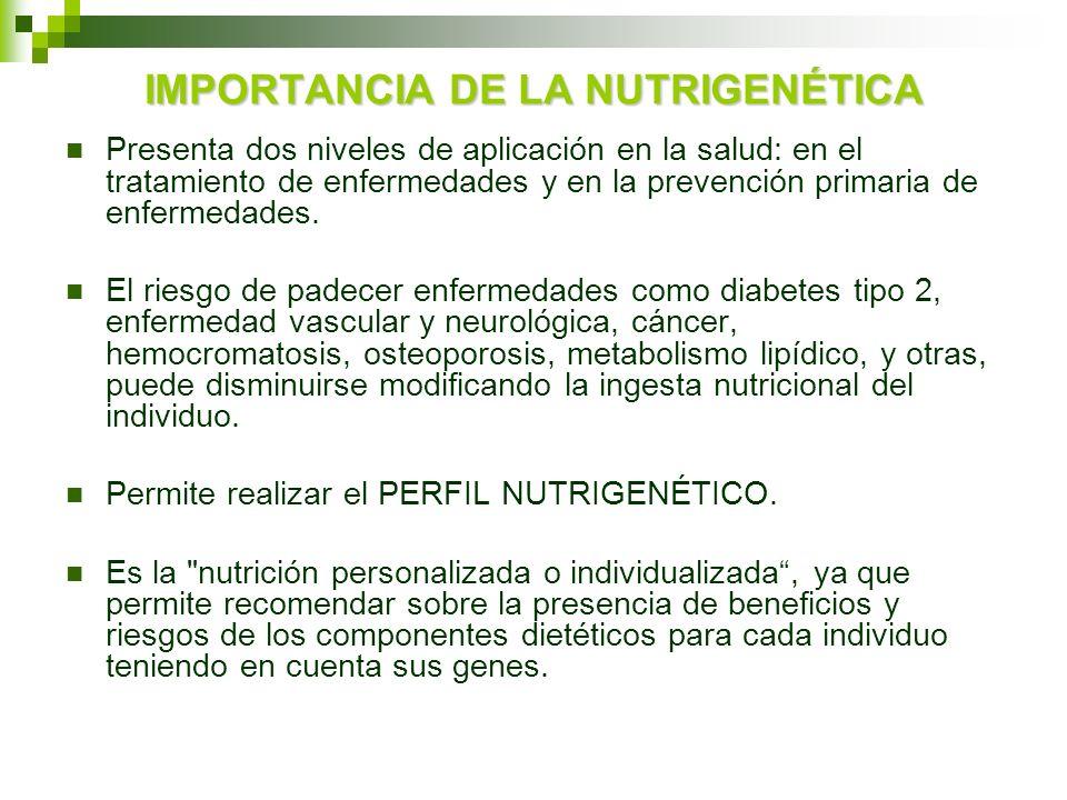 IMPORTANCIA DE LA NUTRIGENÉTICA