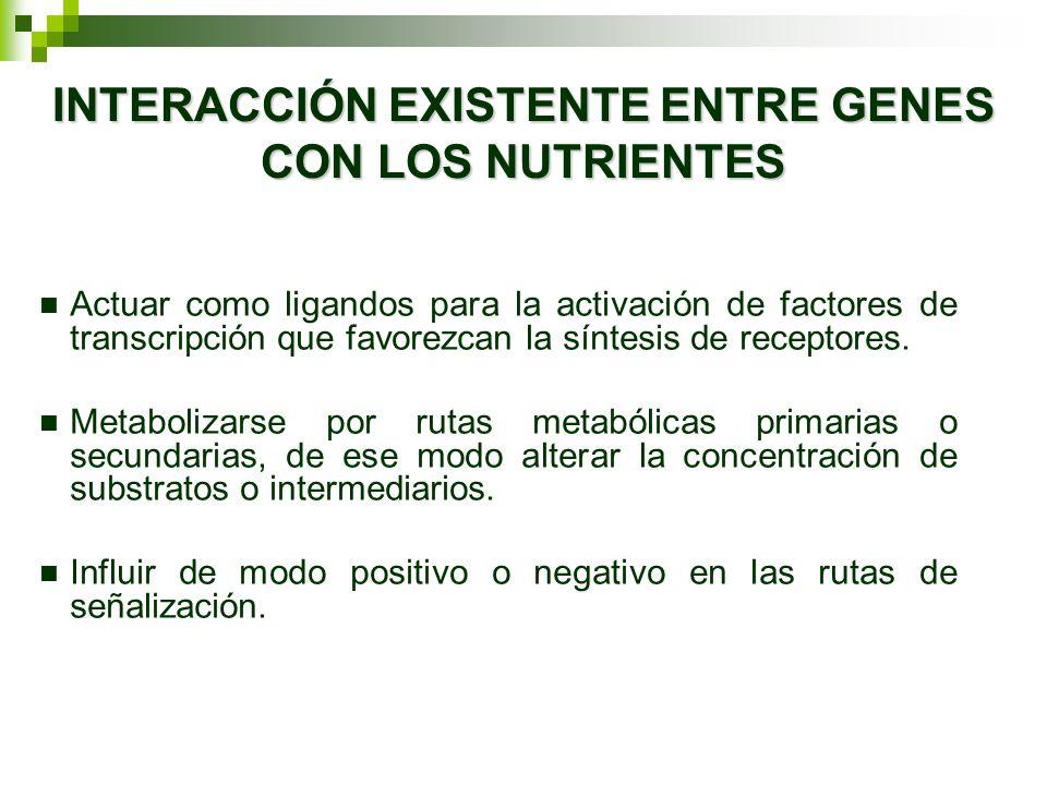 INTERACCIÓN EXISTENTE ENTRE GENES CON LOS NUTRIENTES