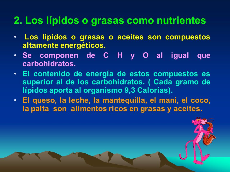 2. Los lípidos o grasas como nutrientes
