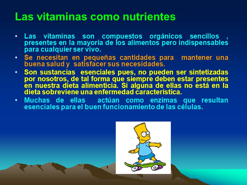 Las vitaminas como nutrientes