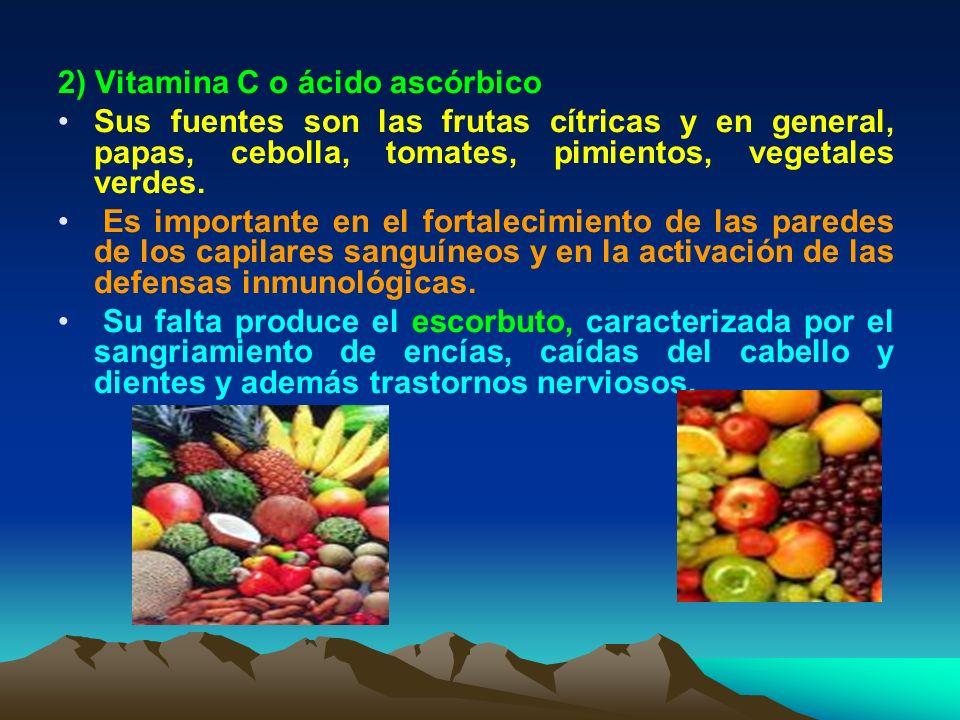 2) Vitamina C o ácido ascórbico