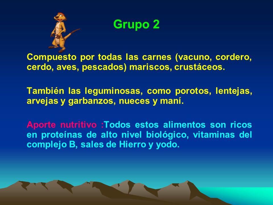 Grupo 2 Compuesto por todas las carnes (vacuno, cordero, cerdo, aves, pescados) mariscos, crustáceos.