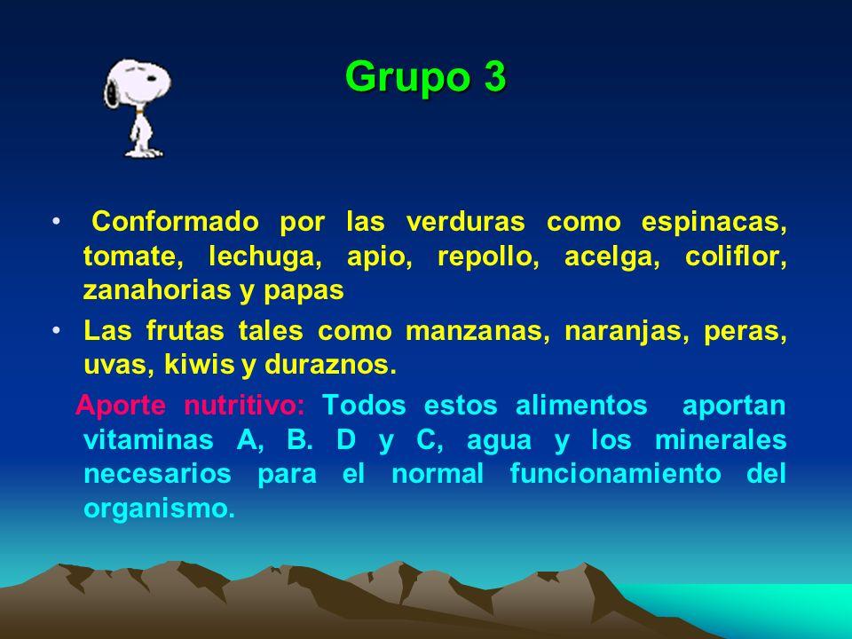 Grupo 3 Conformado por las verduras como espinacas, tomate, lechuga, apio, repollo, acelga, coliflor, zanahorias y papas.