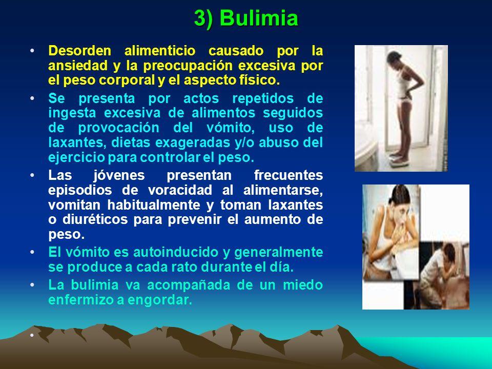 3) Bulimia Desorden alimenticio causado por la ansiedad y la preocupación excesiva por el peso corporal y el aspecto físico.