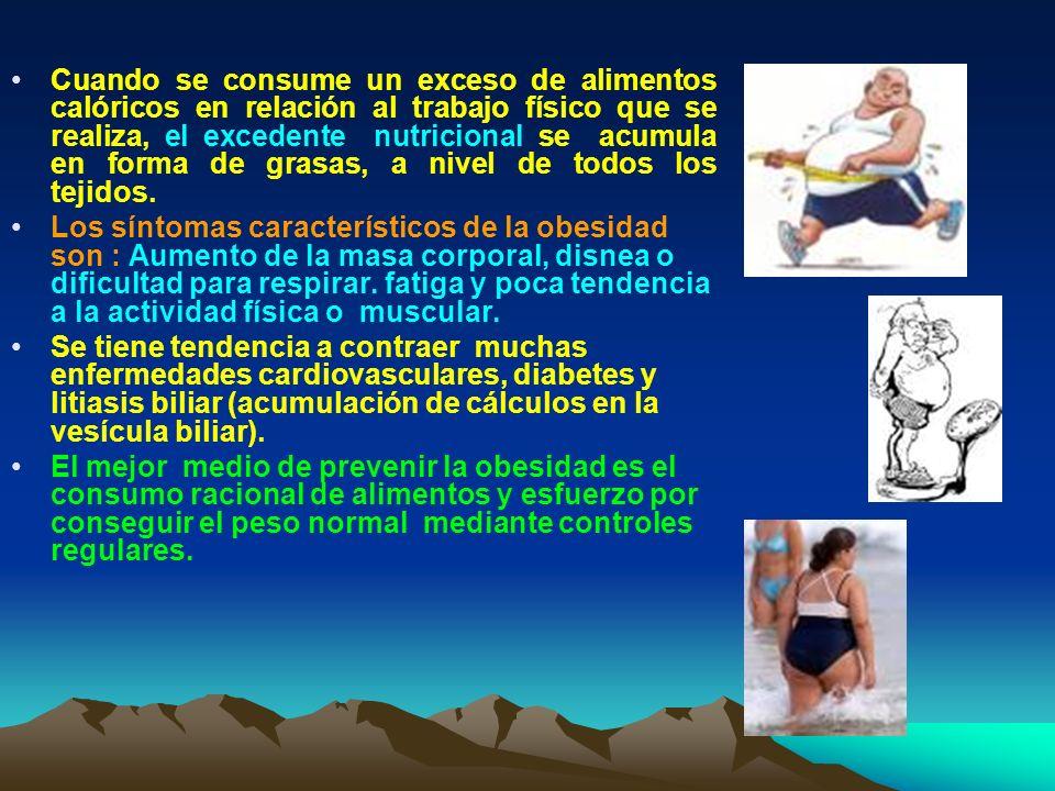 Cuando se consume un exceso de alimentos calóricos en relación al trabajo físico que se realiza, el excedente nutricional se acumula en forma de grasas, a nivel de todos los tejidos.
