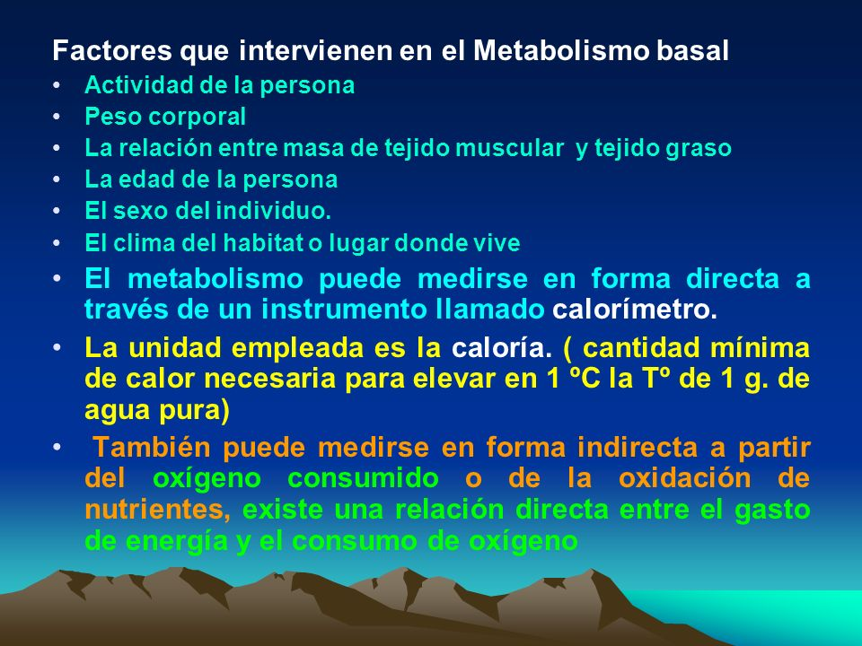 Factores que intervienen en el Metabolismo basal