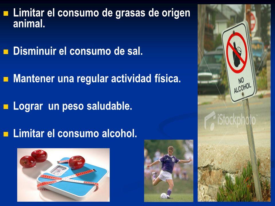Limitar el consumo de grasas de origen animal.