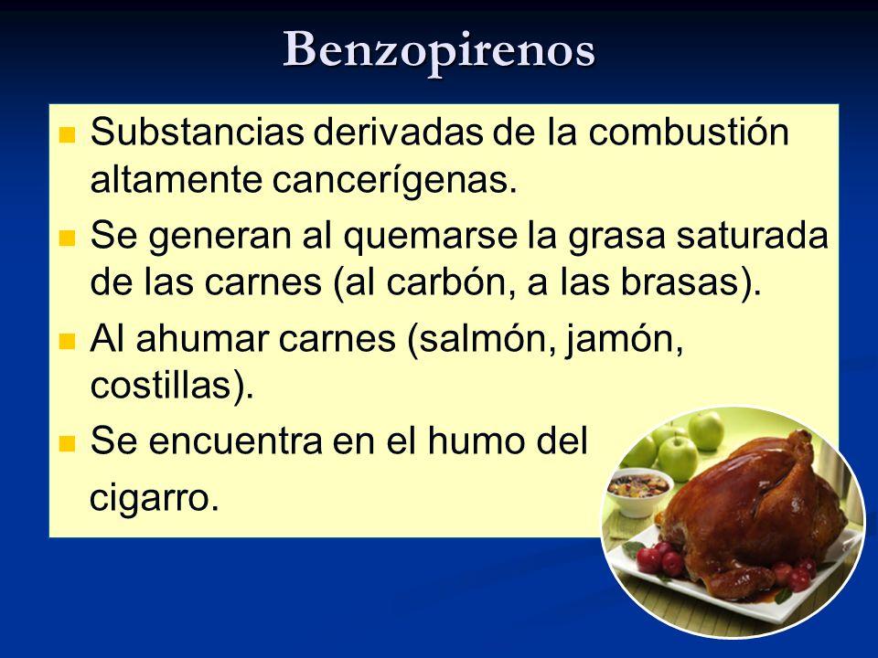 Benzopirenos Substancias derivadas de la combustión altamente cancerígenas.