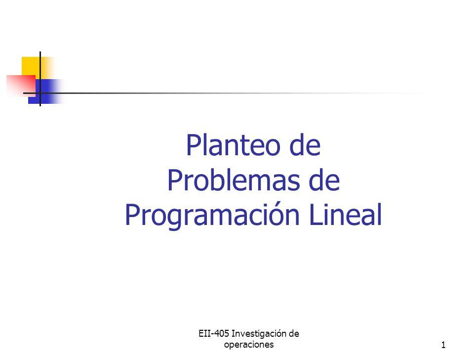Planteo de Problemas de Programación Lineal
