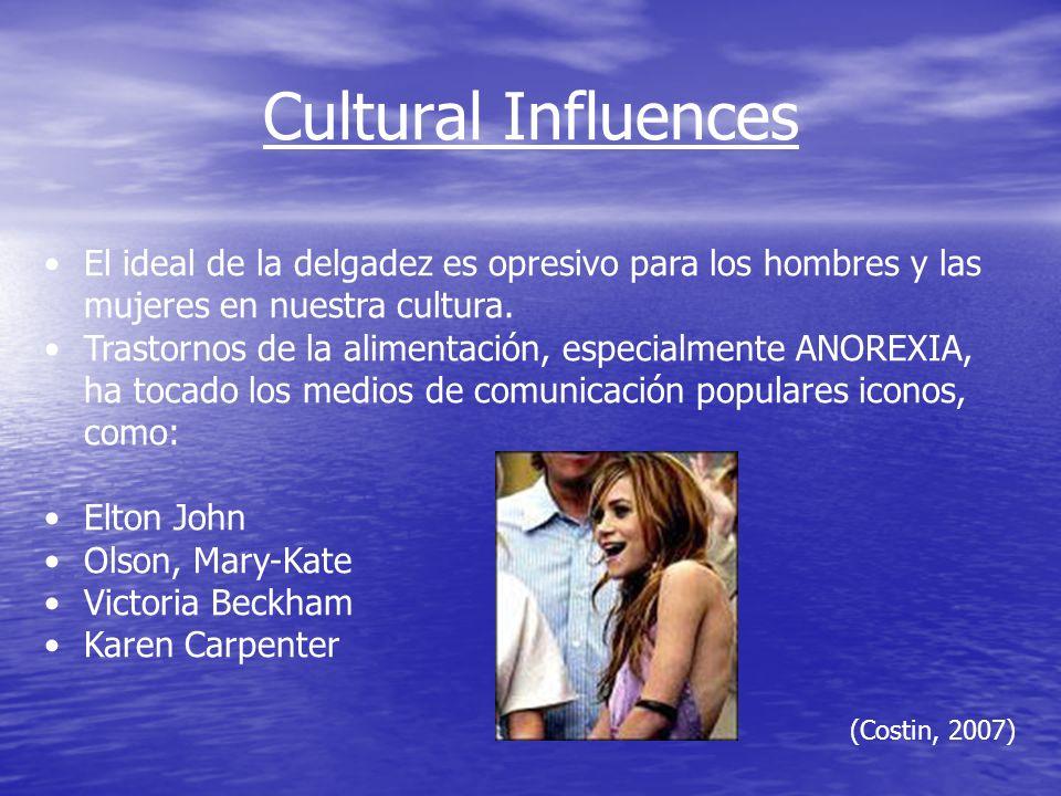 Cultural Influences El ideal de la delgadez es opresivo para los hombres y las mujeres en nuestra cultura.