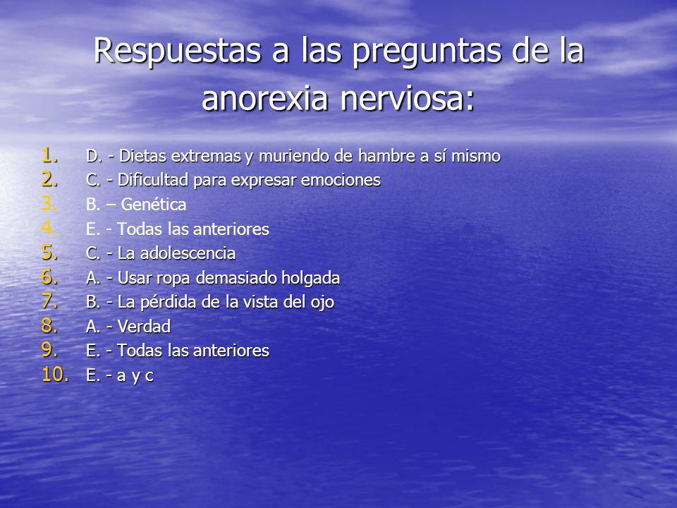 Respuestas a las preguntas de la anorexia nerviosa: