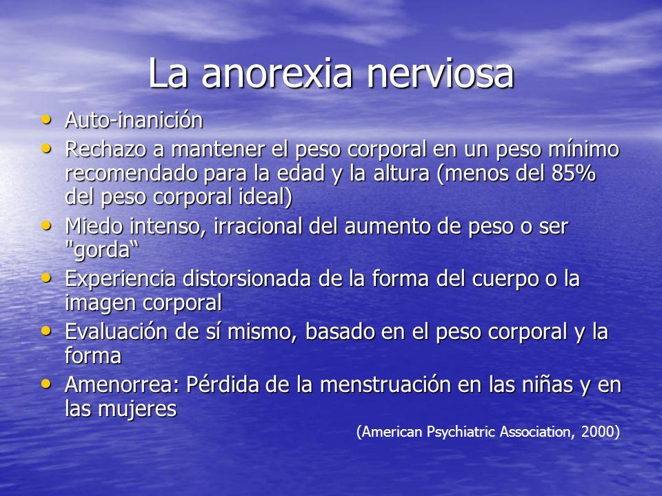 La anorexia nerviosa Auto-inanición