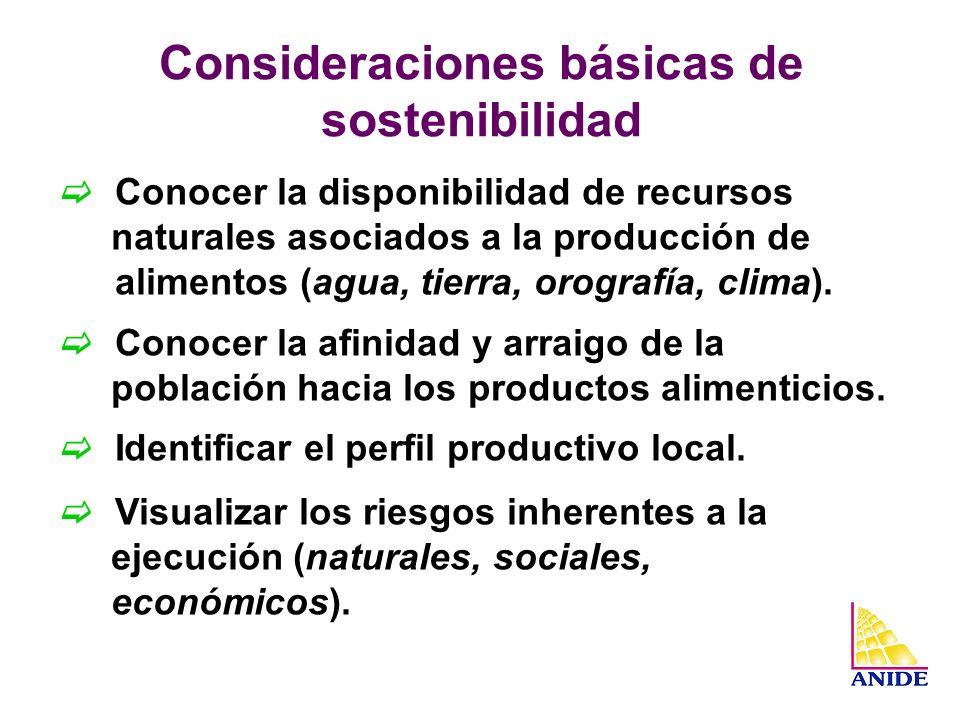 Consideraciones básicas de sostenibilidad
