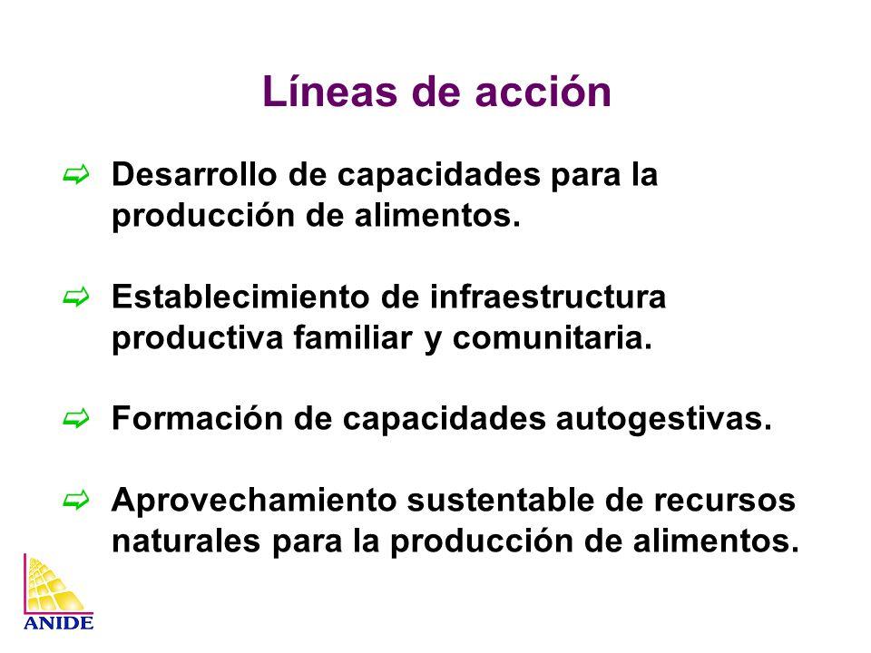 Líneas de acción Desarrollo de capacidades para la producción de alimentos. Establecimiento de infraestructura productiva familiar y comunitaria.
