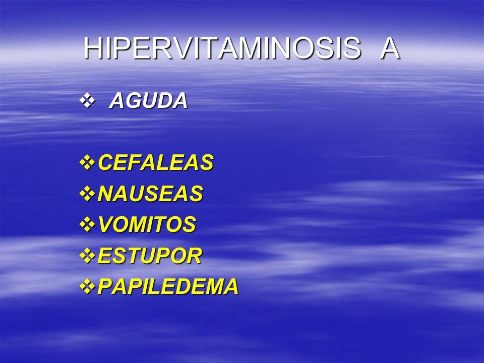 HIPERVITAMINOSIS A AGUDA CEFALEAS NAUSEAS VOMITOS ESTUPOR PAPILEDEMA