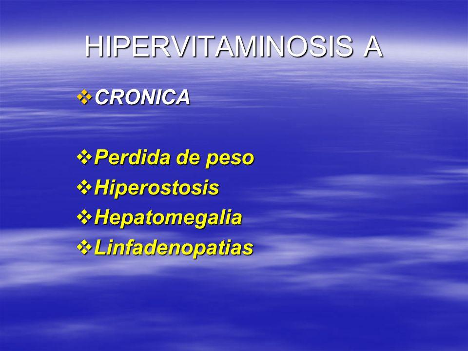 HIPERVITAMINOSIS A CRONICA Perdida de peso Hiperostosis Hepatomegalia