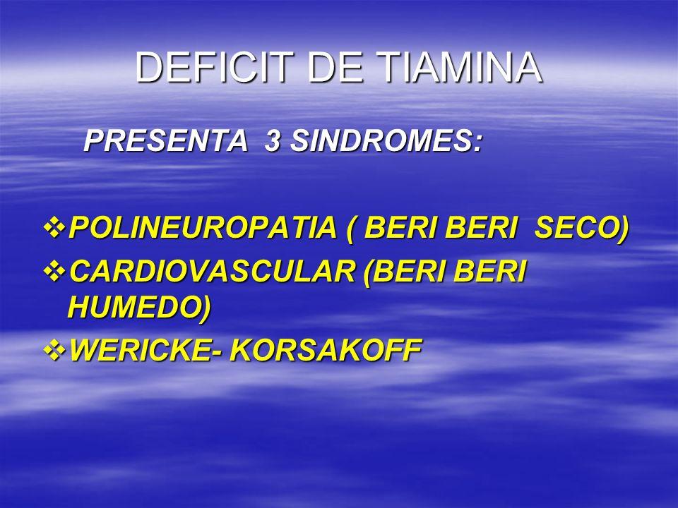 DEFICIT DE TIAMINA PRESENTA 3 SINDROMES: